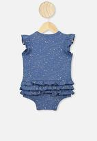 Cotton On - Alice ruffle bubbysuit - blue & white