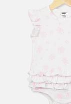 Cotton On - Alice ruffle bubbysuit - white & pink