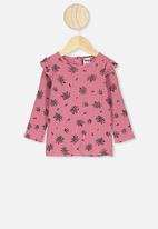 Cotton On - Cindy long sleeve pointelle top - pink