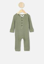 Cotton On - The long sleeve waffle romper - sage