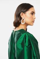 VELVET - Statement sleeve taffeta mini dress - green