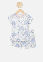 Cotton On - Harpa short sleeve pyjama set - white & blue