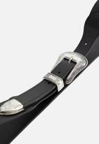 MANGO - Buckle leather belt - black