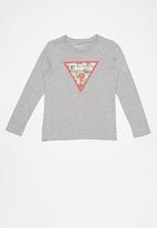 GUESS - Teens long sleeve guess camo triangle tee - grey