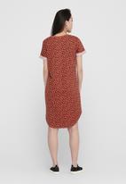 Jacqueline de Yong - Ivy life short sleeve aop dress - rust