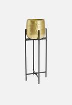 H&S - Cross standing planter - black & gold