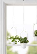 Umbra - Triflora hanging planter - white & brass