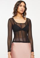 VELVET - Mesh panelled long sleeve top - black