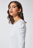 Superbalist - Gauged sleeve viscose top -  white