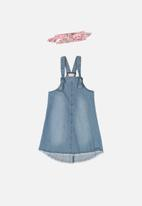 Quimby - Pinafore dress & hairband - blue