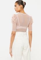 Blake - Mesh ballet sleeve top - pink