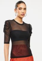 Blake - Mesh ballet sleeve top - black