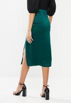 VELVET - Satin mock wrap midi skirt - green