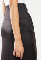 VELVET - Satin wrap skirt - black