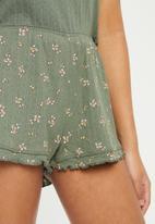 Cotton On - Pointelle sleep set - spriggy floral khaki
