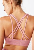 Cotton On - Strappy sports crop - washed rose texture