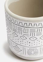 H&S - Mini tribal planter - white