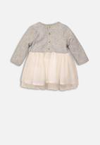 MINOTI - Infants mixed fabric dress - grey & cream