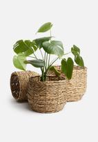 H&S - Planter basket set of 3 - natural