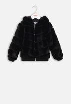 MINOTI - Teens pu panelled faux fur jacket - black