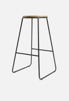 Storage Solutions - Jorja kitchen stool - black & natural