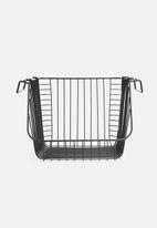 Excellent Housewares - Large stackable wire basket - black