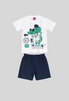 Bee Loop - Boys tank top & shorts set -  navy & white