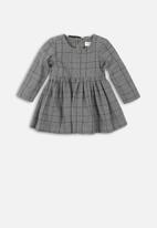 MINOTI - Kids checked smock dress check - grey