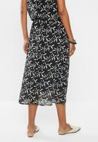 edit - Printed chiffon A-line skirt - black