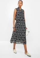 edit - Printed chiffon A-line skirt - black