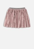 MINOTI - Kids pleated velvet skirt - dusty pink