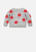 MINOTI - Infants bobble knit jumper - grey & red