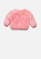 MINOTI - Kids soft faux fur bomber jacket - pink
