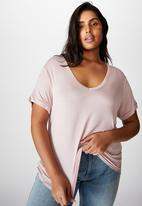 Cotton On - Curve Karly short sleeve tee - burnished lilac