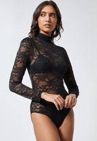 Superbalist - High-neck lace bodysuit - black