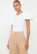 MILLA - Ruffle sleeve bodysuit - white