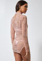 Superbalist - High-neck lace bodysuit - pink