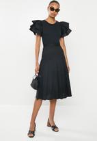 MILLA - Poplin pleated skirt - black