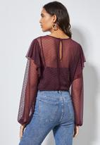 Superbalist - Dobby mesh femme top - burgundy