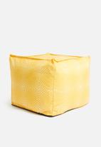 Sixth Floor - Printed twill ottoman square - yellow