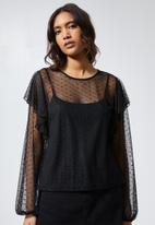 Superbalist - Dobby mesh femme top - black