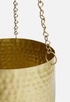 H&S - Hammered hanging planter set of 2 - brass