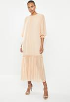 MILLA - Puffed chiffon tiered dress - neutral
