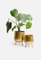H&S - Tina flower pot set of 2 - gold