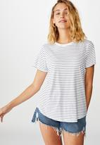 Cotton On - The one crew tee - lucy stripe white & black