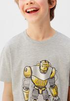 MANGO - T-shirt robot  - grey