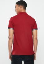 POLO - Calvin short sleeve tape fashion golfer - burgundy