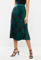 VELVET - Pleated midi skirt - jade & black