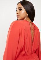 Vero Moda - Plus Gali 3/4 sleeve midi dress - red