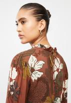 Blake - Floral tiered mini dress - brown